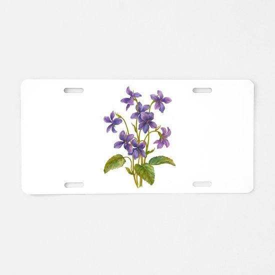 Purple Violets Aluminum License Plate
