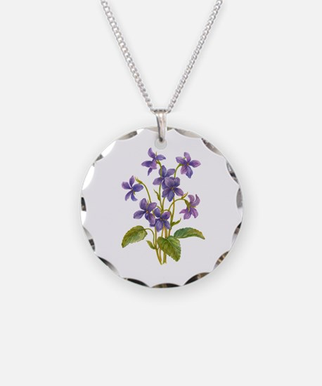 Purple Violets Necklace Circle Charm