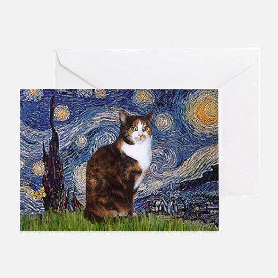 Starry Night & Calico Cat (#1 Greeting Card