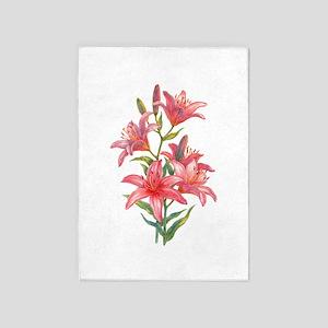 Pink Daylilies 5'x7'Area Rug