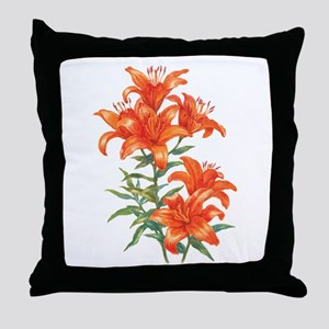 Orange Daylilies Throw Pillow