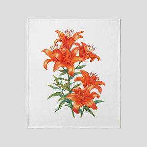 Orange Daylilies Throw Blanket