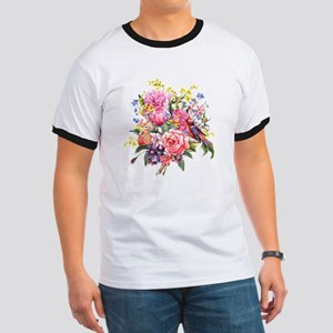Summer Bouquet With Bird Ringer T