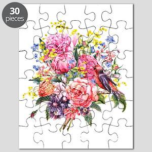 Summer Bouquet With Bird Puzzle