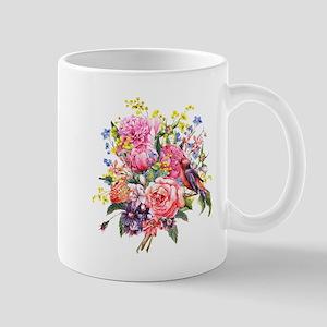 Summer Bouquet With Bird Mug