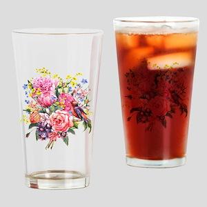 Summer Bouquet With Bird Drinking Glass