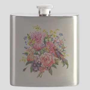 Summer Bouquet With Bird Flask