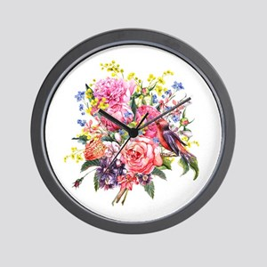 Summer Bouquet With Bird Wall Clock