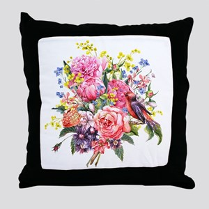 Summer Bouquet With Bird Throw Pillow