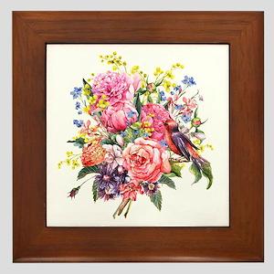 Summer Bouquet With Bird Framed Tile