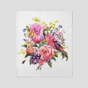 Summer Bouquet With Bird Throw Blanket