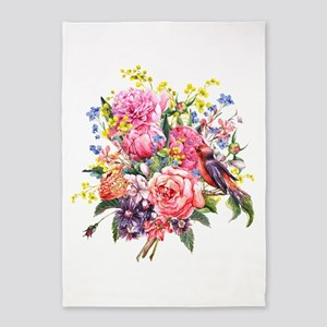 Summer Bouquet With Bird 5'x7'Area Rug