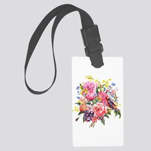 Summer Bouquet With Bird Large Luggage Tag