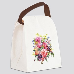 Summer Bouquet With Bird Canvas Lunch Bag
