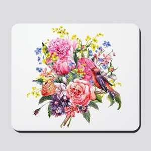 Summer Bouquet With Bird Mousepad