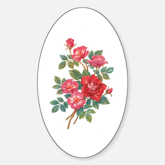 Romantic Red Roses Sticker (Oval)