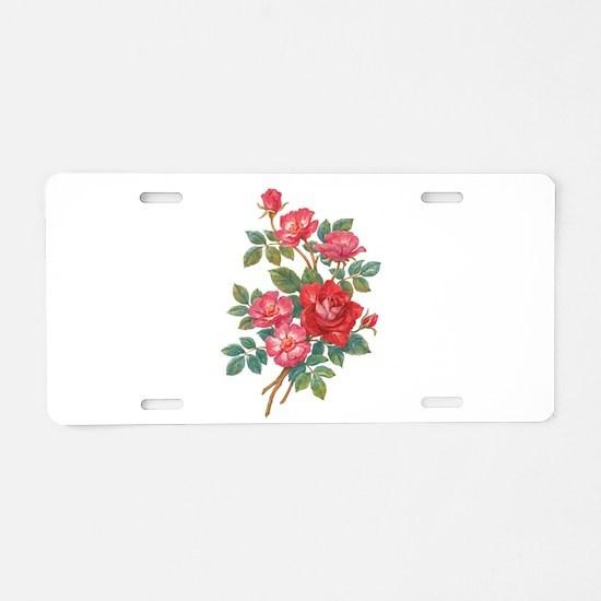 Romantic Red Roses Aluminum License Plate