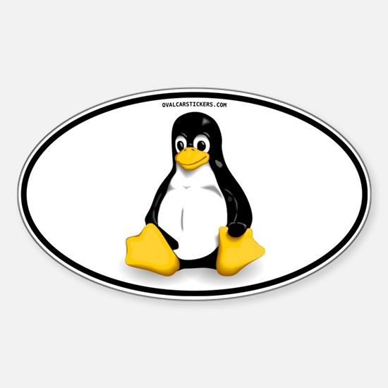 Tux Linux Oval Decal