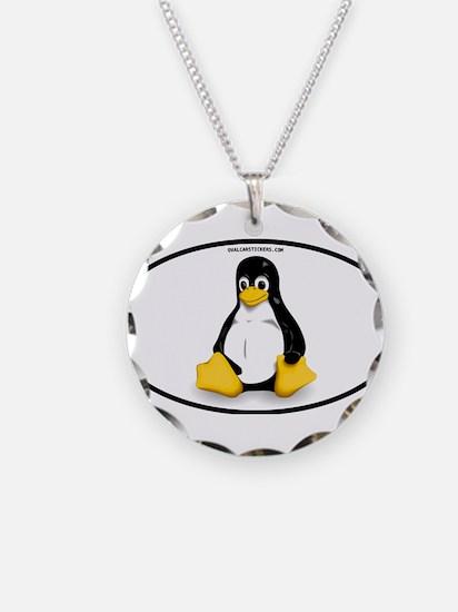 Tux Linux Oval Necklace