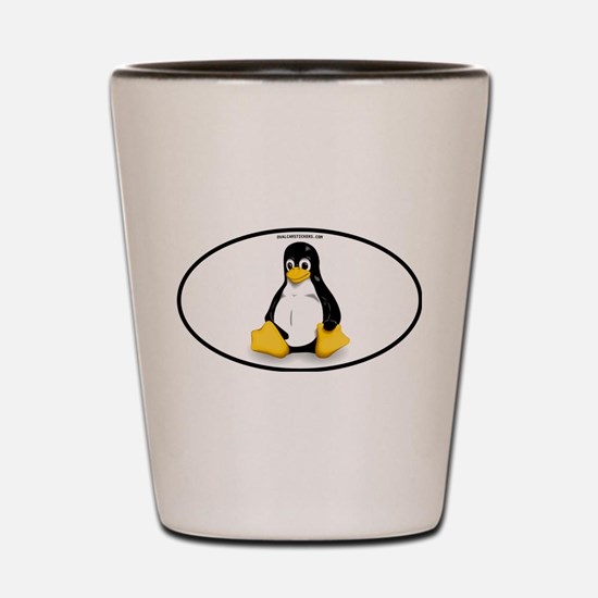 Tux Linux Oval Shot Glass