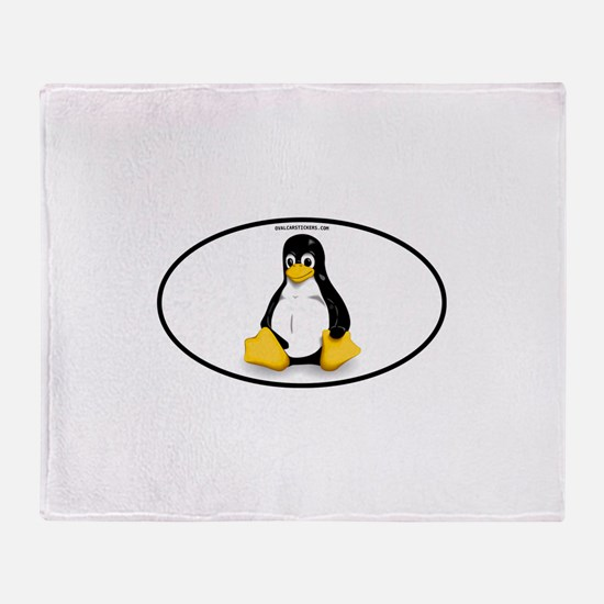 Tux Linux Oval Throw Blanket