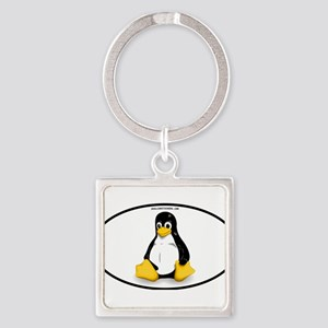 Tux Linux Oval Keychains