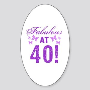 Fabulous 40th Birthday Sticker (Oval)