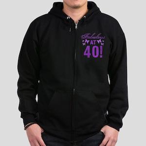 Fabulous 40th Birthday Zip Hoodie (dark)