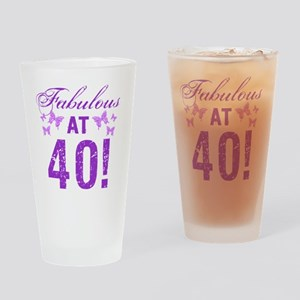 Fabulous 40th Birthday Drinking Glass