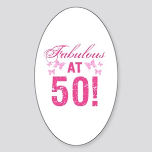 Fabulous 50th Birthday Sticker (Oval)
