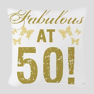Fabulous 50th Birthday Woven Throw Pillow