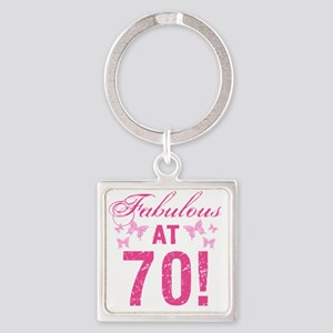 Fabulous 70th Birthday Square Keychain