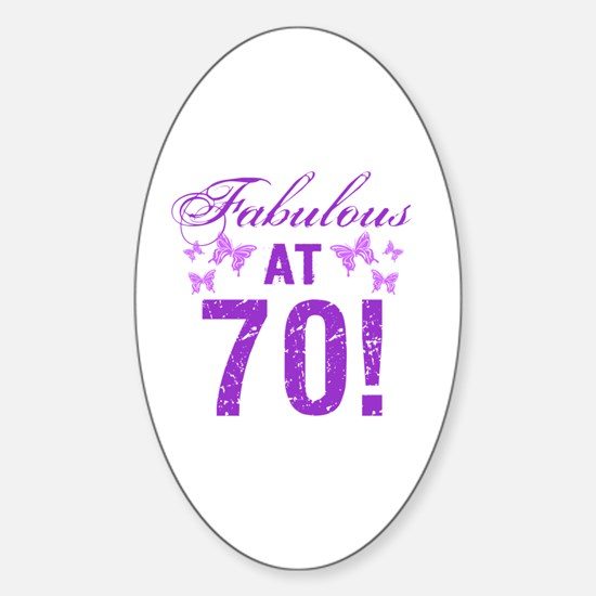 Fabulous 70th Birthday Sticker (Oval)