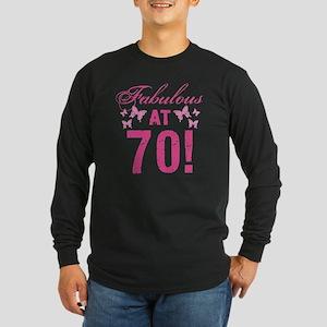 Fabulous 70th Birthday Long Sleeve Dark T-Shirt