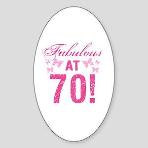 Fabulous 70th Birthday Sticker (Oval)