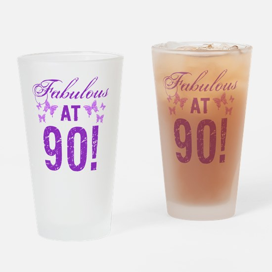 Fabulous 90th Birthday Drinking Glass