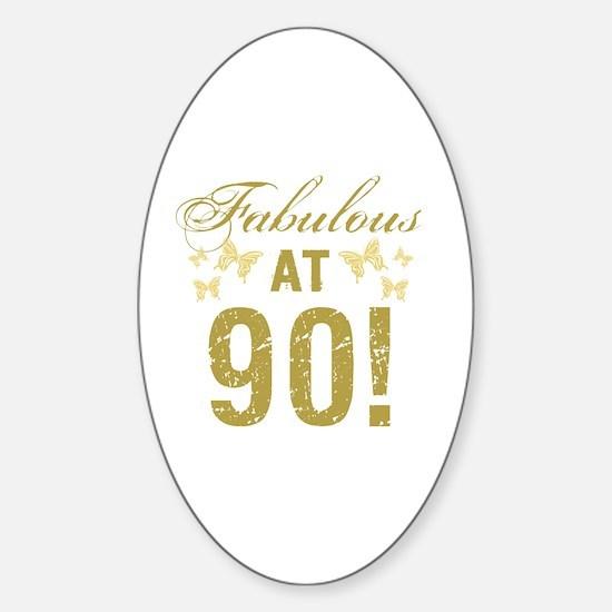 Fabulous 90th Birthday Sticker (Oval)