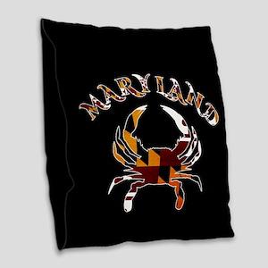 Maryland Crab Burlap Throw Pillow