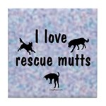 I Love Rescue Mutts (2) Tile Coaster