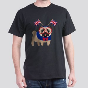 Brit Pug with Union Jack Headband Dark T-Shirt