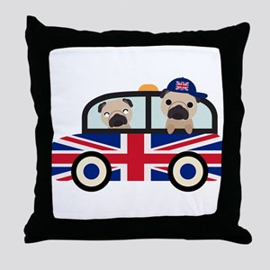 UK Pugs - Pug Taxi Throw Pillow