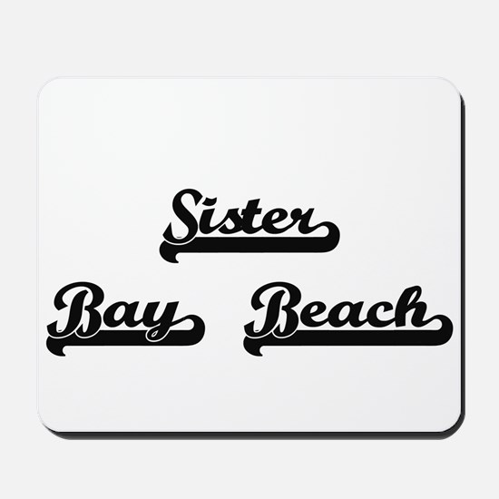 Sister Bay Beach Classic Retro Design Mousepad