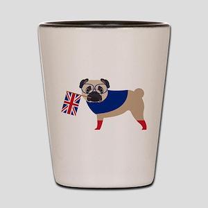 Brit Pug with Union Jack Flag Shot Glass