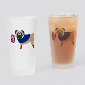 Brit Pug with Union Jack Flag Drinking Glass
