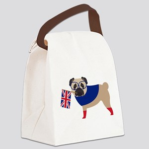 Brit Pug with Union Jack Flag Canvas Lunch Bag