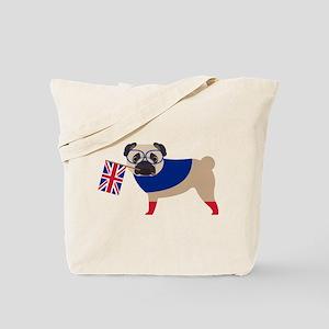 Brit Pug with Union Jack Flag Tote Bag