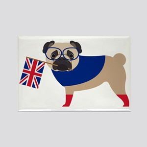 Brit Pug with Union Jack Flag Rectangle Magnet