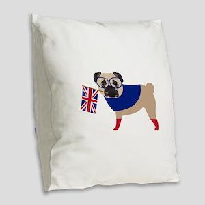 Brit Pug with Union Jack Flag Burlap Throw Pillow