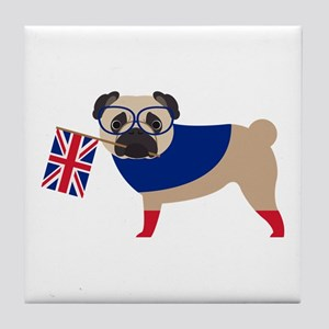 Brit Pug with Union Jack Flag Tile Coaster