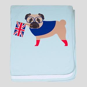 Brit Pug with Union Jack Flag baby blanket